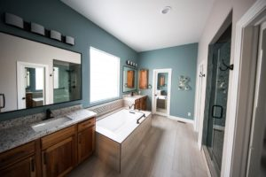 teal and grey washroom