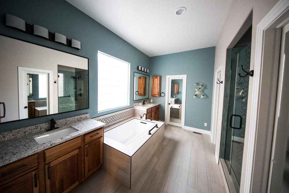 teal and grey washroom